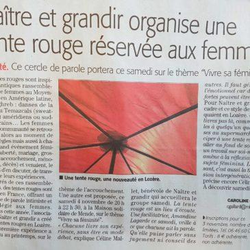 Midi Libre, 3 novembre 2017, Une tente rouge réservée aux femmes à Mende